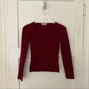 Dolce & Gabbana square neck red sweater knit top